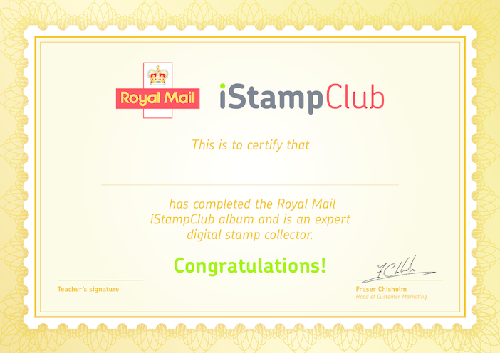 Thumbnail image for the Royal Mail iStamp Club Certificate of Participation activity.