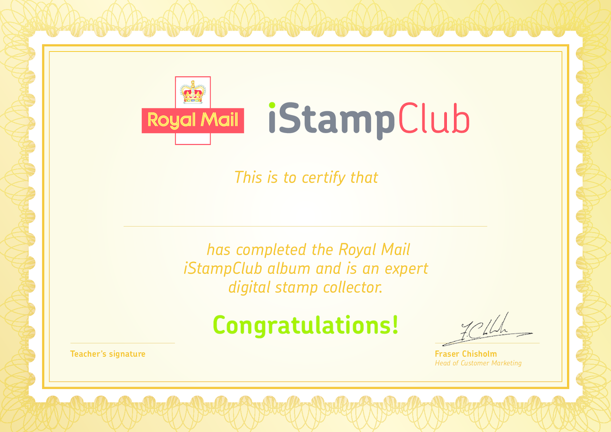Royal Mail iStamp Club Certificate of Participation