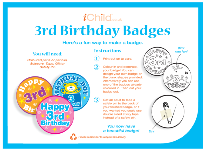 Thumbnail image for the Birthday Badges designs template for 3 year old 3rd birthday activity.