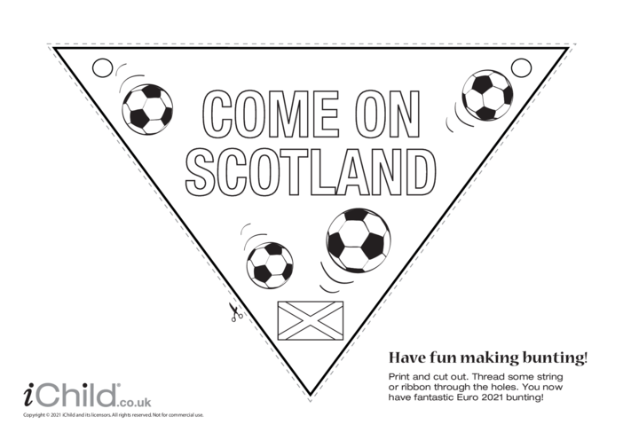 Thumbnail image for the Come on Scotland Football Bunting (black & white) activity.