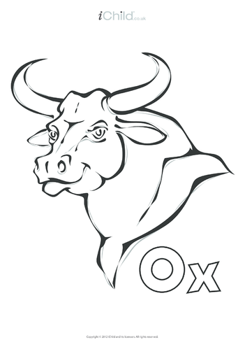 Thumbnail image for the Ox Colouring in Picture activity.