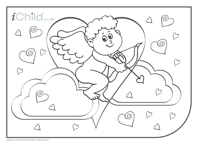 Thumbnail image for the Cupid Colouring in picture activity.