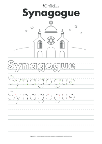 Thumbnail image for the Synagogue Handwriting Practice Sheet activity.