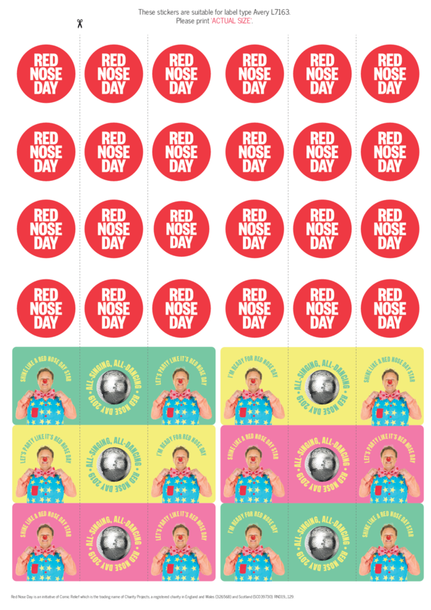 Red Nose Day Sticker Sheet