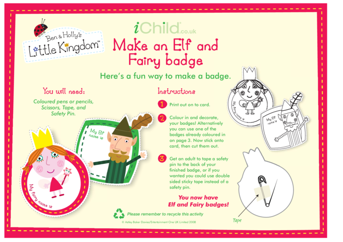Thumbnail image for the Elf & Fairy Badges activity.