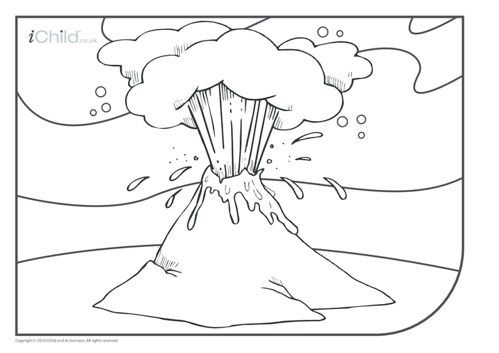 Thumbnail image for the Volcano Colouring in picture activity.