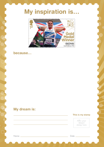 Thumbnail image for the My Inspiration Is- Aled Davies- Gold Medal Winner Stamp Template activity.