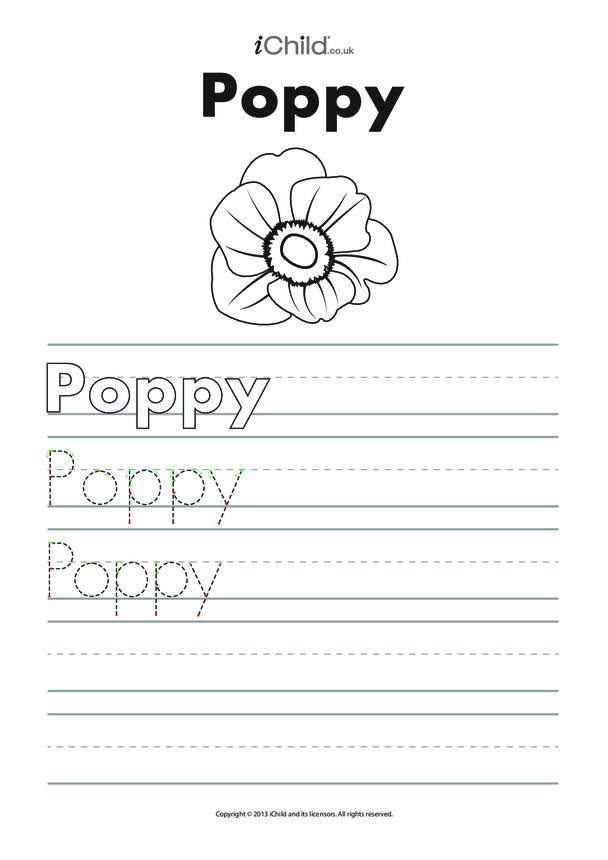 Poppy Handwriting Sheet