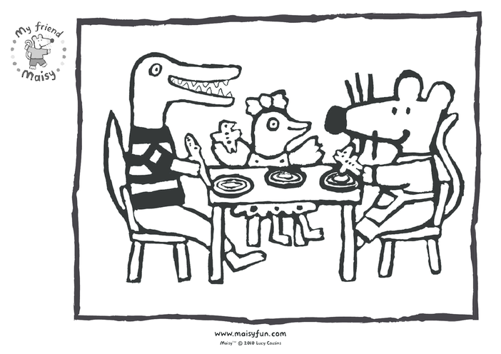 Thumbnail image for the Maisy Party Kit: Colouring in Picture, Birthday Food activity.