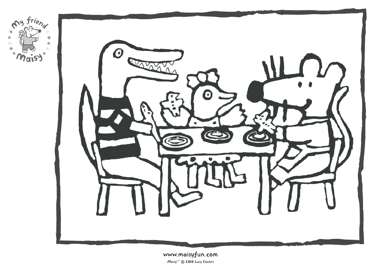 Maisy Party Kit: Colouring in Picture, Birthday Food