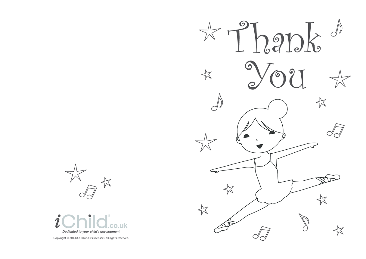 Thank You Card template for children- Ballet