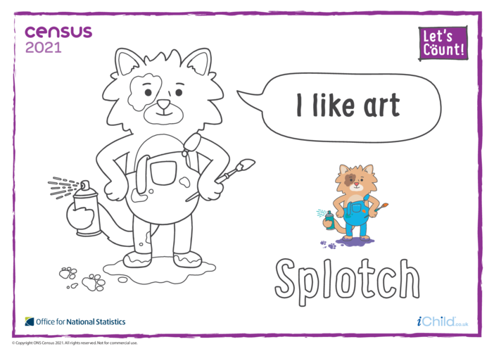 Thumbnail image for the Colouring in Counter Cat Splotch (English) activity.