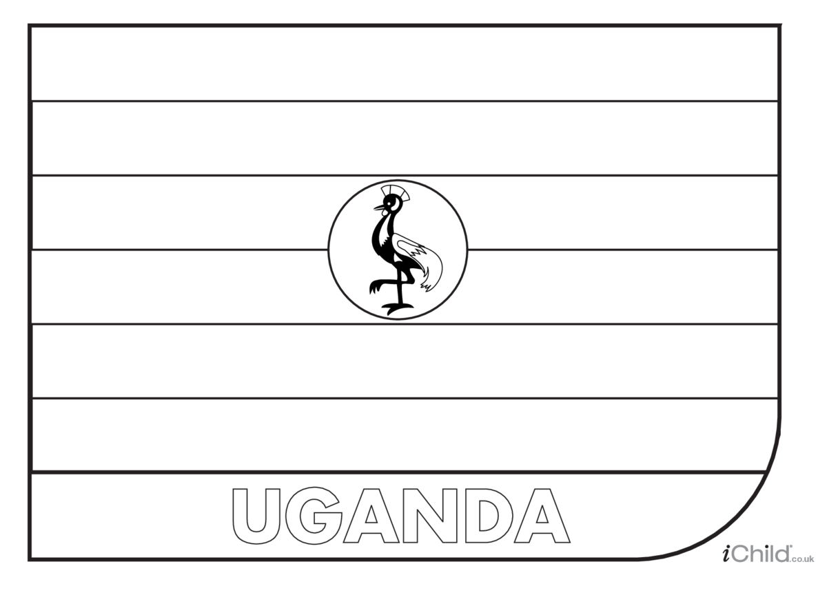 Uganda Flag Colouring in Picture (flag of Uganda)