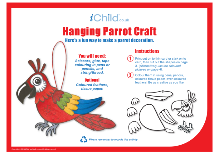 Thumbnail image for the Hanging Parrot Craft activity.