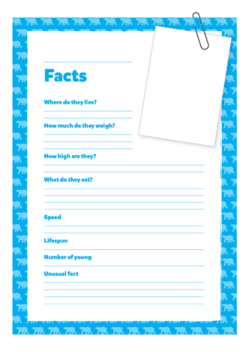 Thumbnail image for the Primary 1) Giants of the Animal Kingdom- Blank Fact Cards (Blue) activity.