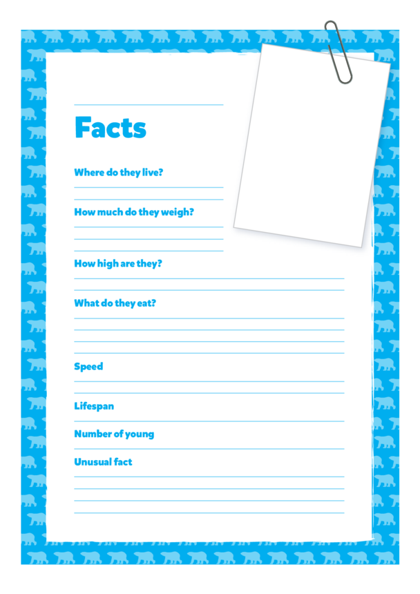 Primary 1) Giants of the Animal Kingdom- Blank Fact Cards (Blue)