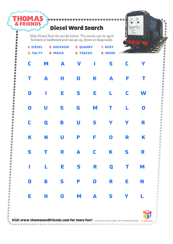 Thumbnail image for the Diesel Wordsearch (Thomas & Friends) activity.