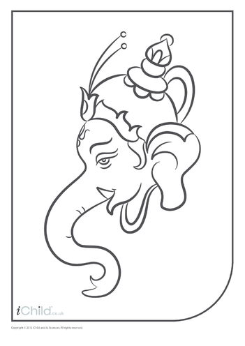 Thumbnail image for the Ganesha Head Colouring in Picture activity.