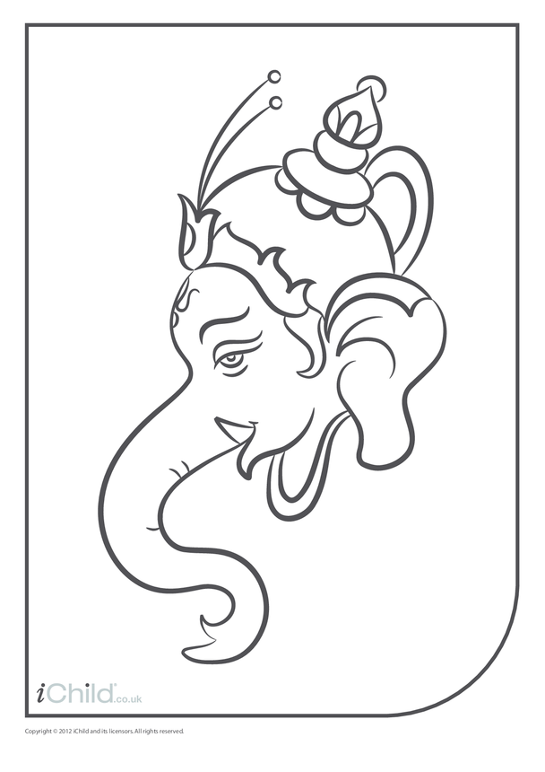 Ganesha Head Colouring in Picture