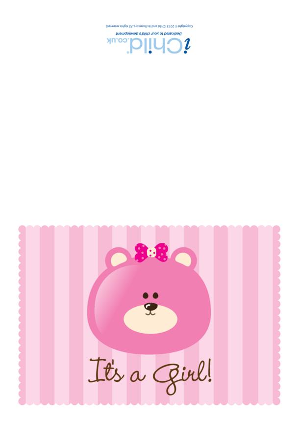 It's a Girl Card - Bear