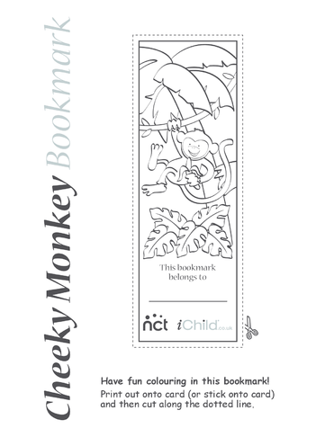 Thumbnail image for the Cheeky Monkey Bookmark activity.