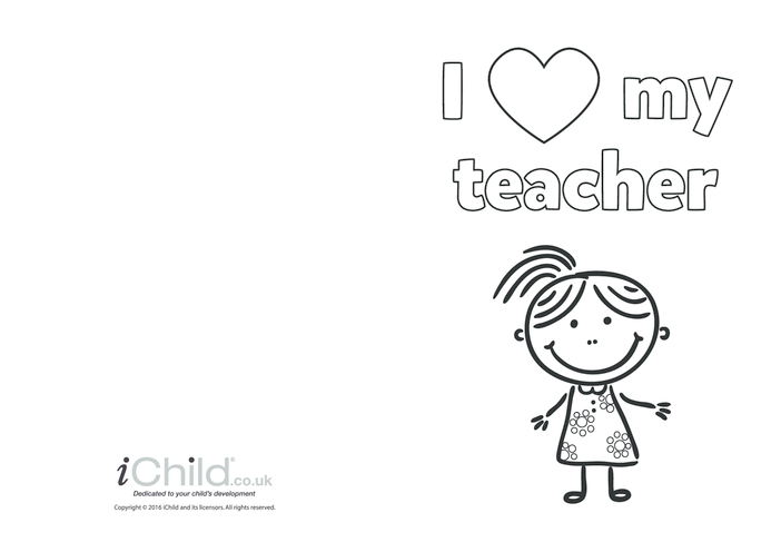 Thumbnail image for the I Love My Teacher Card (girl picture) activity.