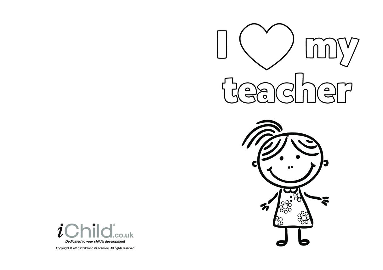 I Love My Teacher Card (girl picture)