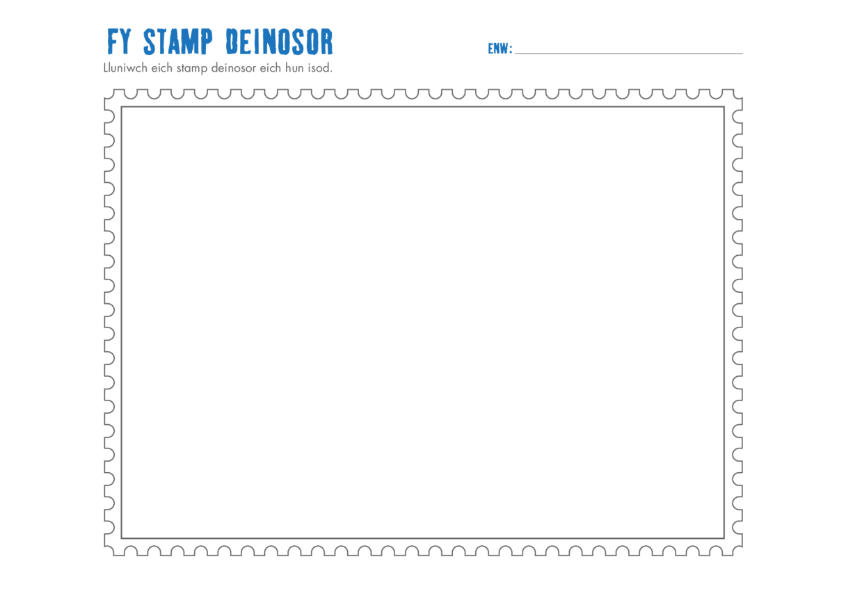 Welsh Language Primary 3) Design a Dinosaur Stamp Drawing Template
