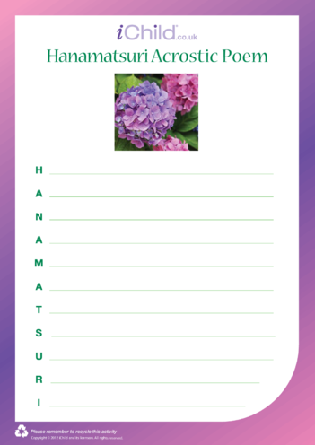 Thumbnail image for the Hanamatsuri Acrostic Poem activity.