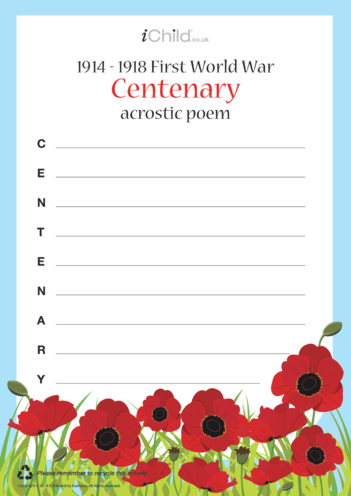 Thumbnail image for the First World War Centenary Acrostic Poem activity.