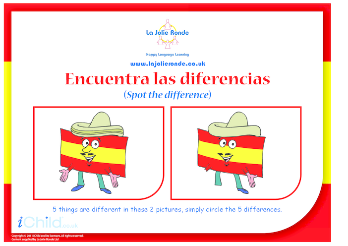 Thumbnail image for the Spanish Flag Spot the Difference activity.