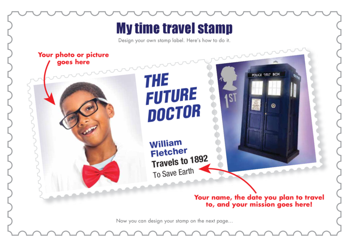 Thumbnail image for the Primary 1) Time Travel Stamp Design- The Future Doctor Example activity.