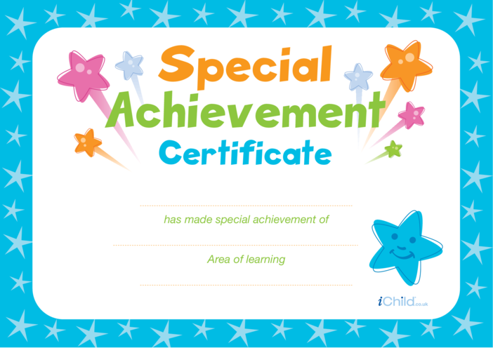 Thumbnail image for the Special Achievement Certificate (blue) activity.