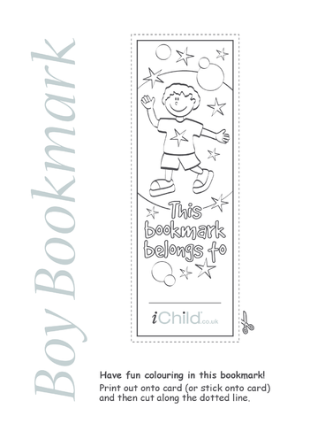 Thumbnail image for the Boy Bookmark activity.