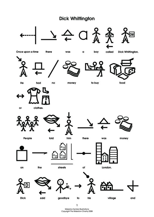 Dick Whittington Makaton Symbols