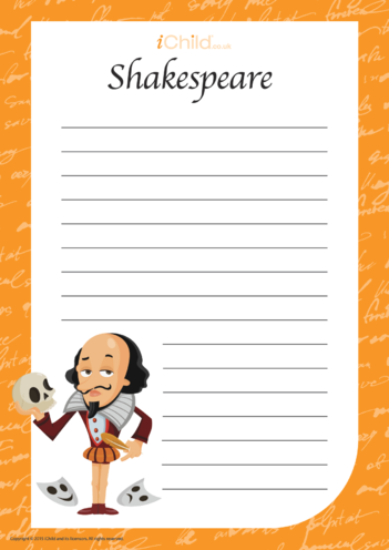 Thumbnail image for the Shakespeare Lined Writing Paper Template activity.