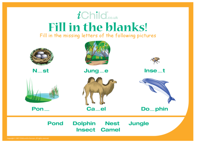 Thumbnail image for the Fill in the Blanks - Living Things activity.