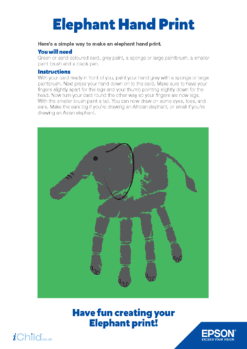 Thumbnail image for the Epson Elephant Hand Print activity.