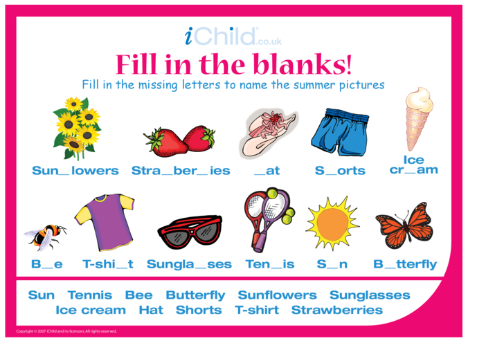 Thumbnail image for the Fill in the Blanks - Summer activity.