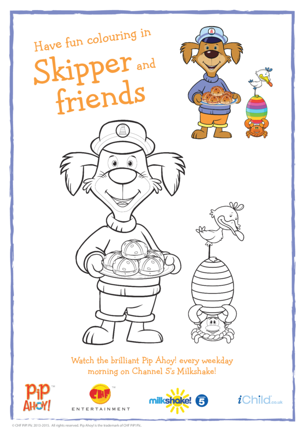 Skipper Easter Colouring In Picture (Pip Ahoy!)
