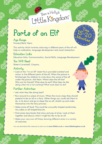 Thumbnail image for the EYFS Resource Sheet 6: Parts of an Elf activity.