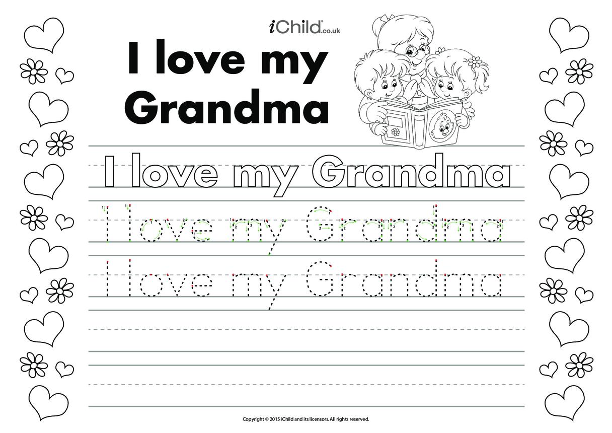 I Love my Grandma Handwriting Practice Sheet