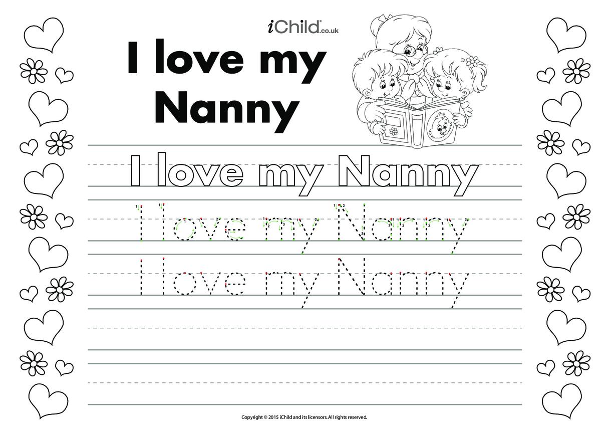 I Love My Nanny Handwriting Practice Sheet