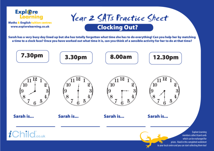 Thumbnail image for the SATS Practice Paper Year 2: Clocking Out activity.