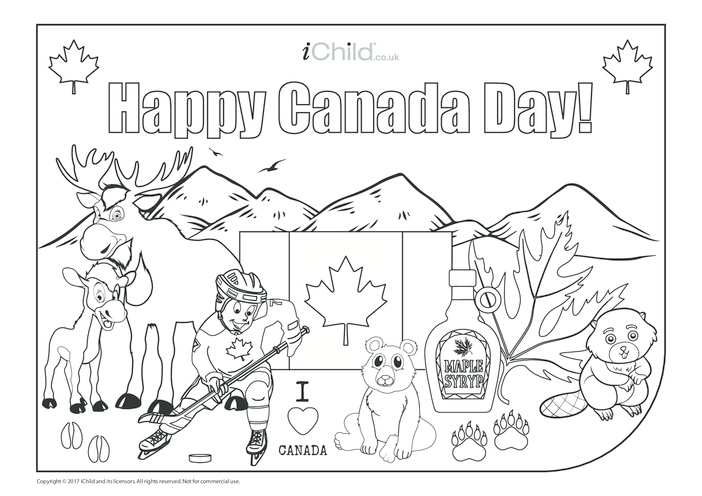 Thumbnail image for the Happy Canada Day Card (landscape) activity.