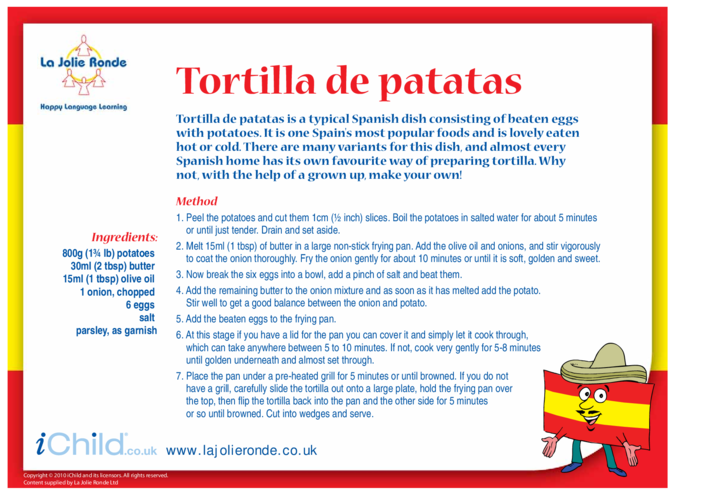 Thumbnail image for the Tortilla de Patatas Recipe activity.
