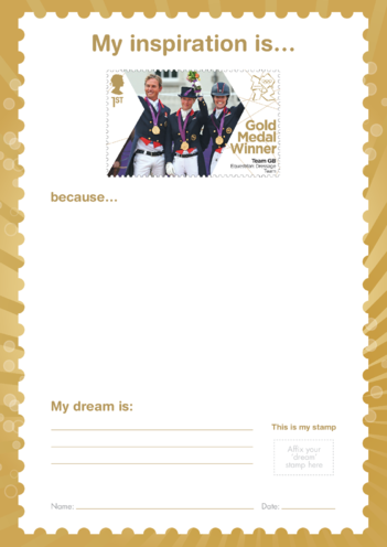 Thumbnail image for the My Inspiration Is- Team GB Equestrian Dressage- Gold Medal Winner Stamp activity.