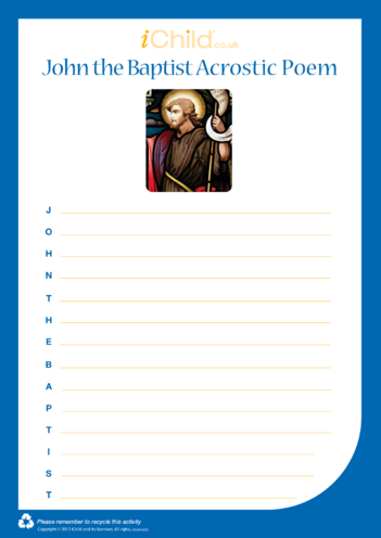 Thumbnail image for the St. John the Baptist Acrostic Poem activity.
