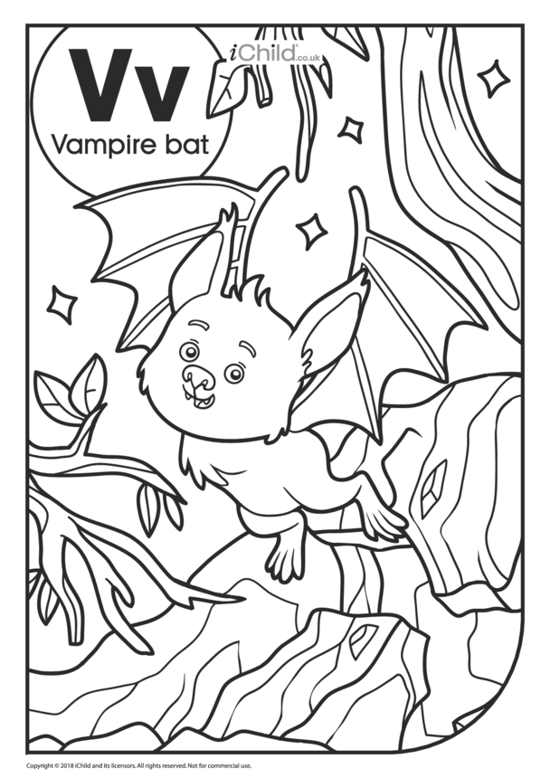 V is for Vampire Bat Colouring in Picture