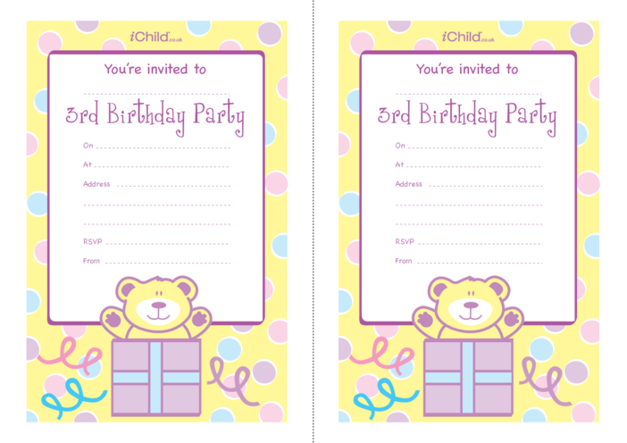 Thumbnail image for the Birthday Party Invitation templates for 3 year old 3rd birthday activity.